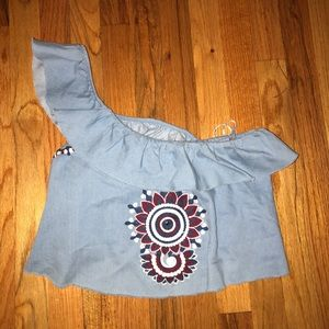 Zara Tops - Zara one shoulder embroidered top